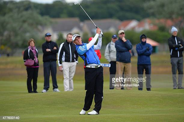 Grant Forrest of Craigielaw plays his second shot on the 12th fairway during The Amateur Championship 2015 Day Four at Carnoustie Golf Club on June...