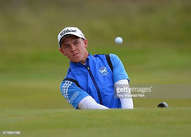 Grant Forrest of Craigielaw plays out of a bunker onto the 8th green during The Amateur Championship 2015 Day Four at Carnoustie Golf Club on June 18...