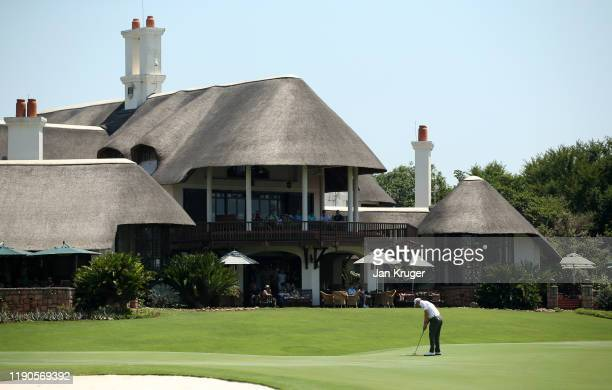 Grant Forrest of Scotland putts on the 18th green during Day One of the Alfred Dunhill Championship at Leopard Creek Country Golf Club on November...