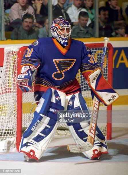 Grant Fuhr of the St Louis Blues skates against the Toronto Maple Leafs during NHL game action on December 3 1996 at Maple Leaf Gardens in Toronto...