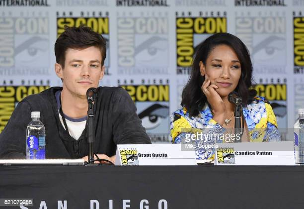 Grant Gustin and Candice Patton attend the The Flash Video Presentation And QA during ComicCon International 2017 at San Diego Convention Center on...