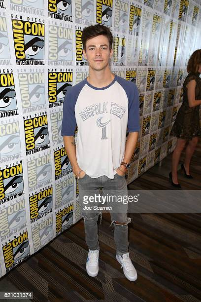 Grant Gustin arrives at The Flash press line at ComicCon International 2017 on July 22 2017 in San Diego California