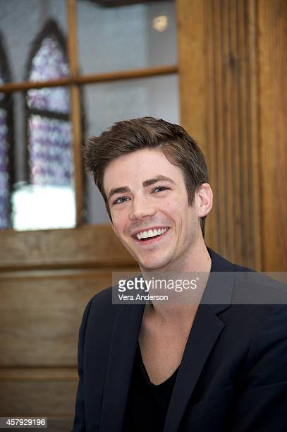Grant Gustin at 'The Flash' Press Conference on October 24 2014 in West Hollywood California