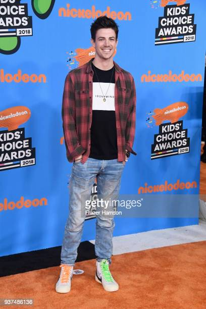Grant Gustin attends Nickelodeon's 2018 Kids' Choice Awards at The Forum on March 24 2018 in Inglewood California