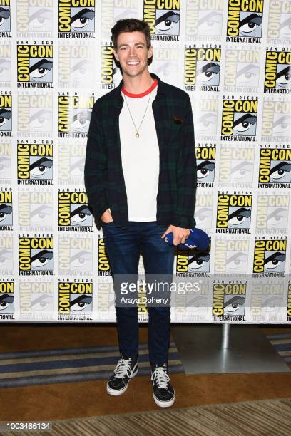 Grant Gustin attends the press line for The Flash during ComicCon International 2018 at Hilton Bayfront on July 21 2018 in San Diego California