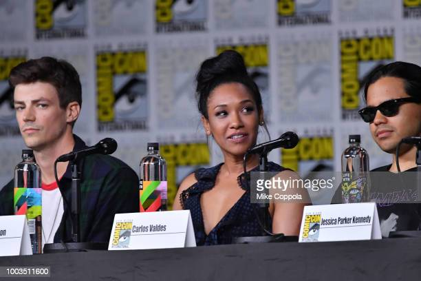 Grant Gustin Candice Patton and Carlos Valdes speak onstage at theThe Flash Special Video Presentation and QA during ComicCon International 2018 at...