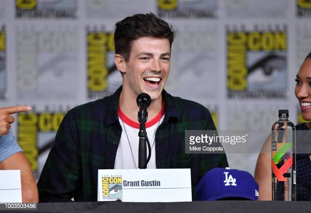 Grant Gustin speaks onstage at theThe Flash Special Video Presentation and QA during ComicCon International 2018 at San Diego Convention Center on...