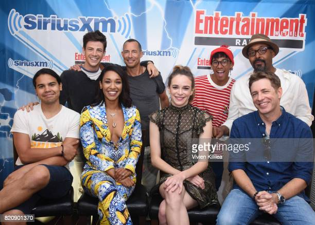 Grant Gustin Tom Cavanagh Keiynan Lonsdale Jesse L Martin Carlos Valdes Candice Patton Danielle Panabaker and Greg Berlanti attend SiriusXM's...