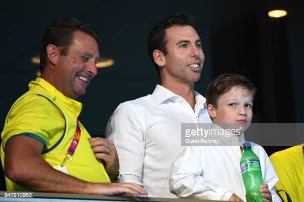 Grant Hackett and son Jagger Emilio Hackett look on during day three of the Gold Coast 2018 Commonwealth Games at Optus Aquatic Centre on April 7...