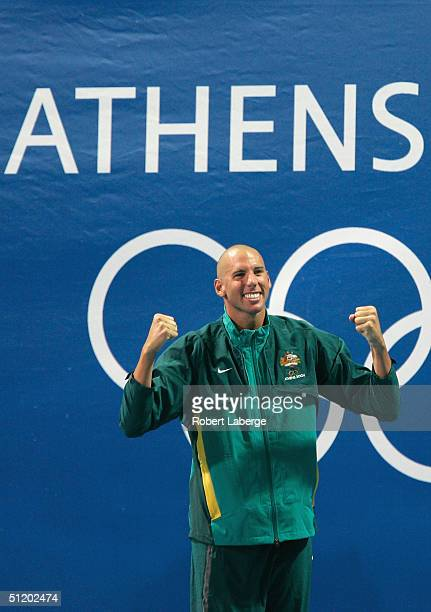 Grant Hackett of Australia celebrates before receiving the gold medal in the men's swimming 1500 metre freestyle event on August 21 2004 during the...