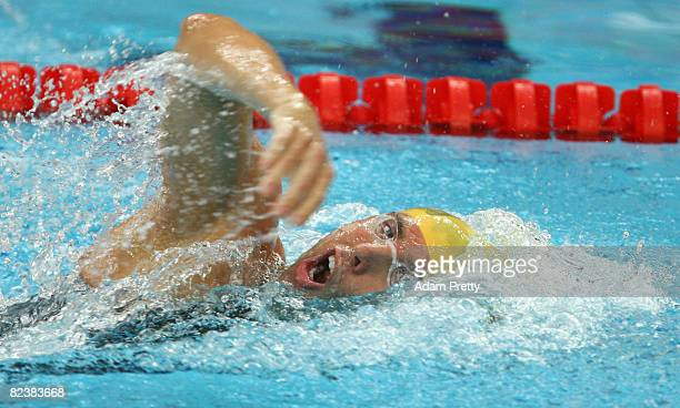 Grant Hackett of Australia competes in the Men's 1500m Freestyle final held at the National Aquatics Centre during Day 9 of the Beijing 2008 Olympic...