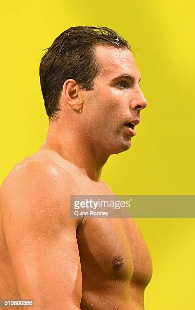 Grant Hackett of Australia looks on after racing in the Men's 200 Metre Freestyle during day two of the 2016 Australian Swimming Championships at the...