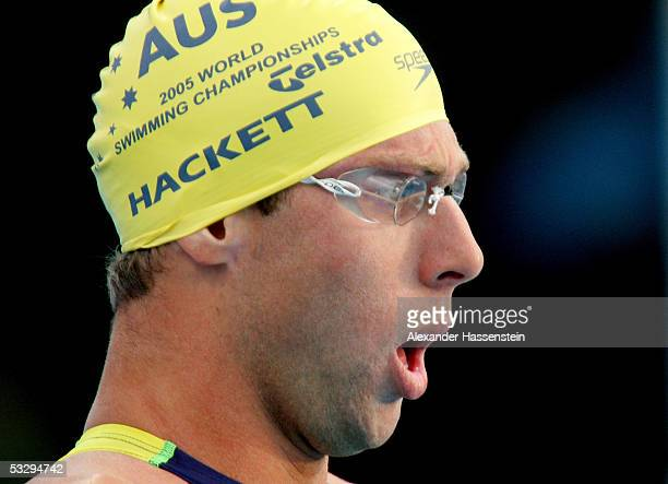 Grant Hackett of Australia takes a deep breath before competing in the 800 meter Freestyle final during the XI FINA World Championships at the Parc...