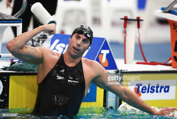 Grant Hackett of the VIS celebrates after winning the mens 1500m freestyle during day seven of the 2008 Australian Championships at the Sydney...