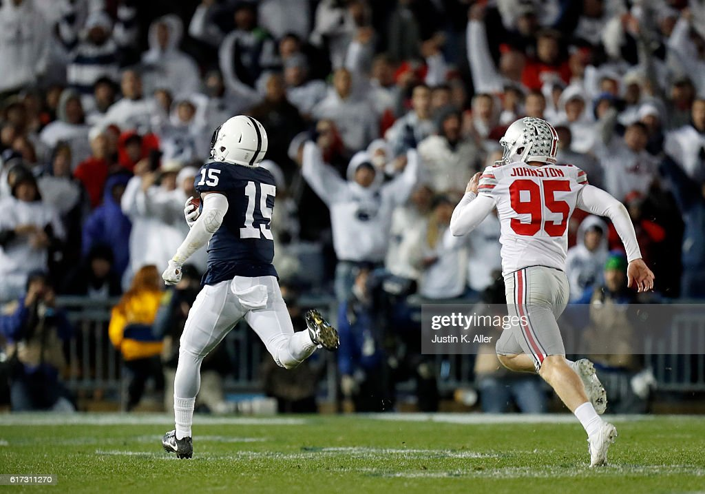 Grant Haley #15 of the Penn State Nittany Lions returns a field goal block 60 yards for a touchdown in the fourth quarter during the game against the Ohio State Buckeyes on October 22, 2016 at Beaver Stadium in State College, Pennsylvania.