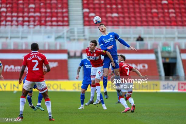 Grant Hall of Middlesbrough and Kieffer Moore of Cardiff City FC during the Sky Bet Championship match between Middlesbrough and Cardiff City at...
