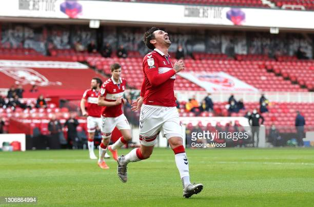 Grant Hall of Middlesbrough celebrates after scoring his team's first goal during the Sky Bet Championship match between Middlesbrough and Stoke City...
