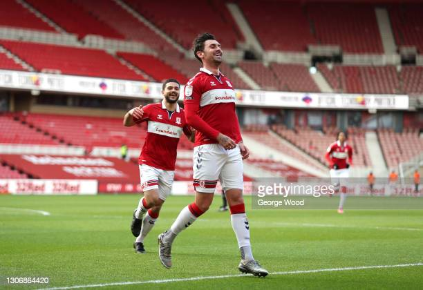 Grant Hall of Middlesbrough celebrates after scoring their team's first goal during the Sky Bet Championship match between Middlesbrough and Stoke...