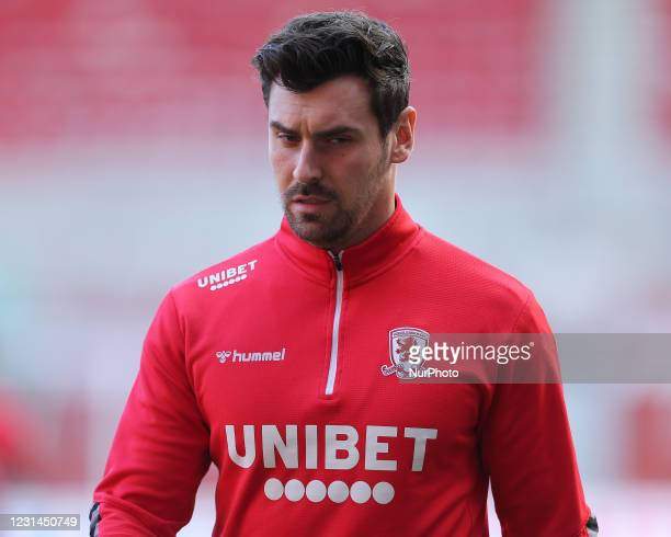 Grant Hall of Middlesbrough during the Sky Bet Championship match between Middlesbrough and Cardiff City at the Riverside Stadium, Middlesbrough on...