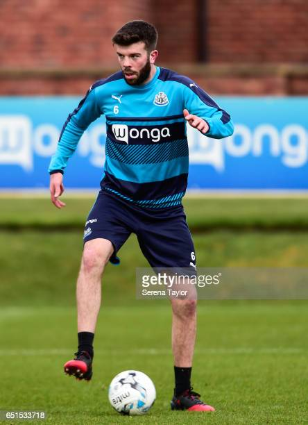 Grant Hanley controls the ball during the Newcastle United Training Session at The Newcastle United Training Centre on March 10 2017 in Newcastle...