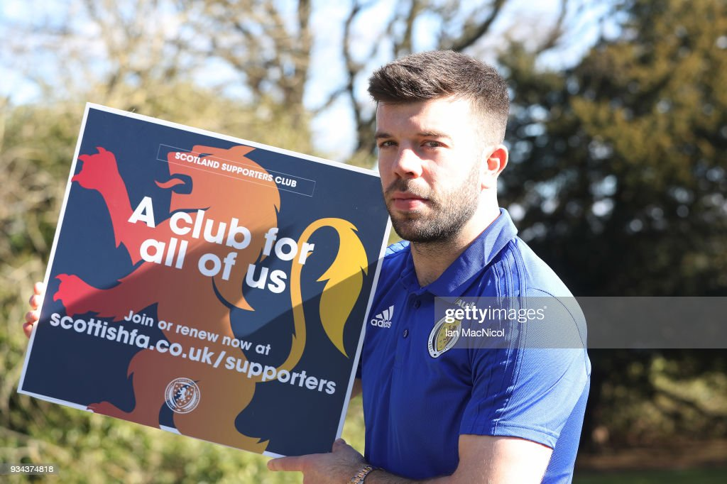 Grant Hanley is seen during a training session prior to the International Friendly match between Scotland and Costa Rica at Orium Sports Centr on March 19, 2018 in Glasgow, Scotland.