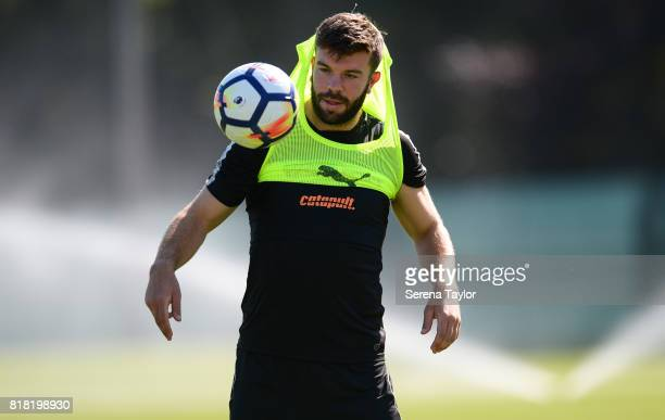 Grant Hanley looks at the ball during the Newcastle United Training session at Carton House on July 18 in Maynooth Ireland