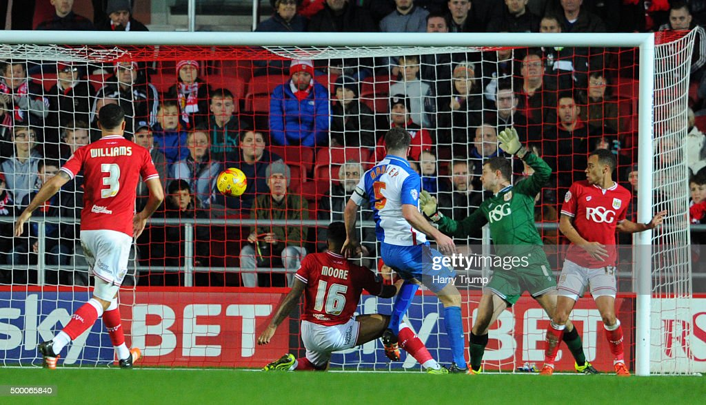 Grant Hanley of Blackburn Rovers scores his sides first goal during the Sky Bet Championship match between Bristol City and Blackburn Rovers at Ashton Gate on December 5, 2015 in Bristol, England.