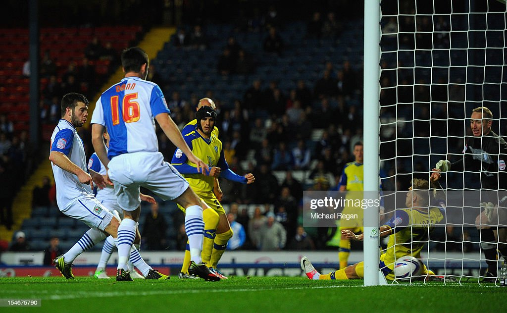 Grant Hanley of Blackburn scores to make it 1-0 during the nPower Championship match between Blackburn Rovers and Sheffield Wednesday at Ewood Park on October 24, 2012 in Blackburn, England.