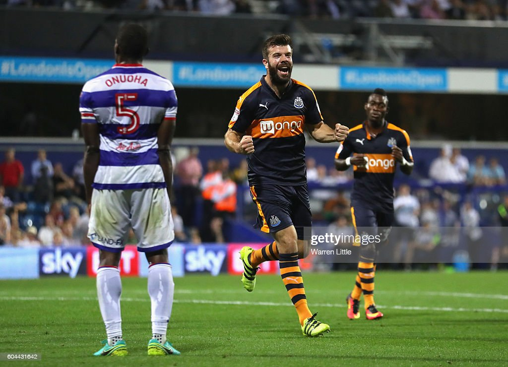 Grant Hanley of Newcastle United celebrates scoring during the Sky Bet Championship match between Queens Park Rangers and Newcastle United at Loftus Road on September 13, 2016 in London, England.