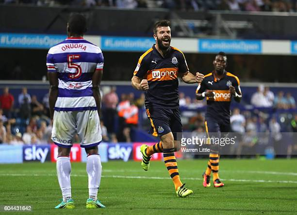 Grant Hanley of Newcastle United celebrates scoring during the Sky Bet Championship match between Queens Park Rangers and Newcastle United at Loftus...