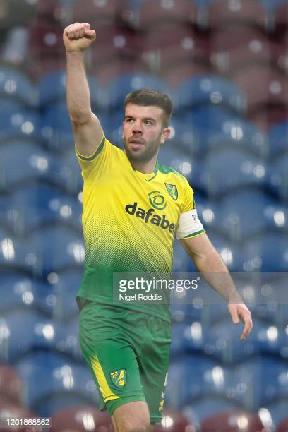 Grant Hanley of Norwich City celebrates after scoring his team's first goal during the FA Cup Fourth Round match between Burnley FC and Norwich City...