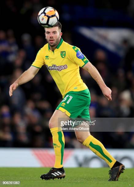 Grant Hanley of Norwich City during the Emirates FA Cup Third Round Replay match between Chelsea and Norwich City at Stamford Bridge on January 17...