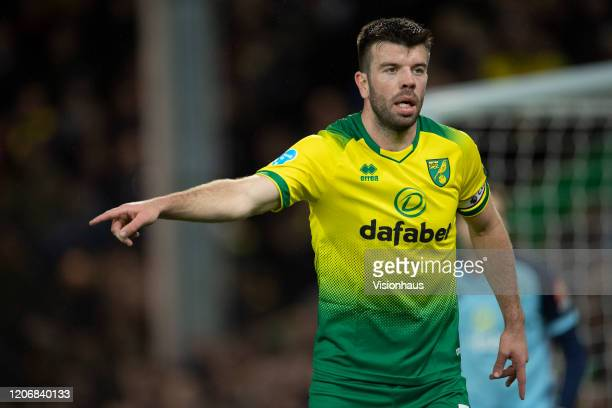 Grant Hanley of Norwich City during the Premier League match between Norwich City and Liverpool FC at Carrow Road on February 15, 2020 in Norwich,...