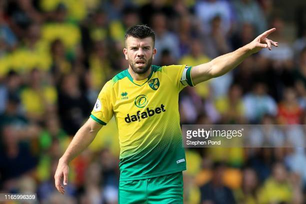 Grant Hanley of Norwich City during the Pre-Season Friendly match between Norwich City and Toulouse at Carrow Road on August 03, 2019 in Norwich,...