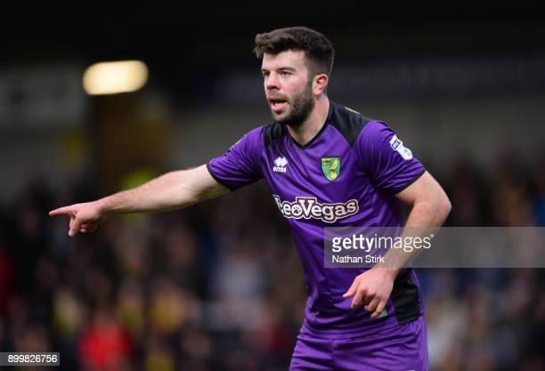 Grant Hanley of Norwich City gives instructions during the Sky Bet Championship match between Burton Albion and Norwich City at Pirelli Stadium on...
