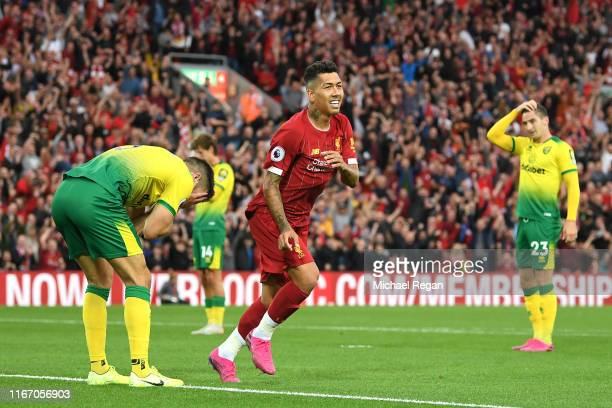 Grant Hanley of Norwich City reacts after scoring an own goal as Roberto Firmino of Liverpool celebrates during the Premier League match between...