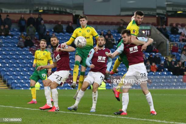 Grant Hanley of Norwich City scores his team's first goal during the FA Cup Fourth Round match between Burnley FC and Norwich City at Turf Moor on...