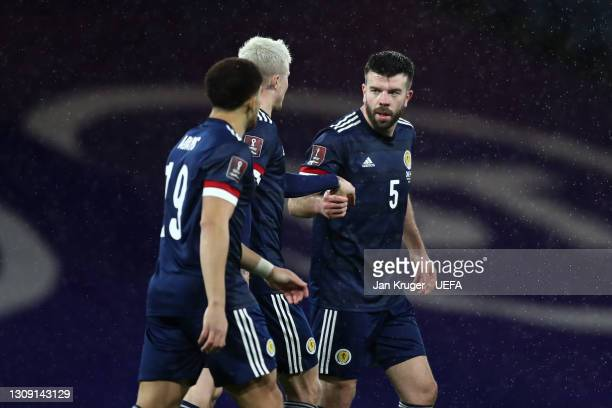 Grant Hanley of Scotland celebrates after scoring their side's first goal during the FIFA World Cup 2022 Qatar qualifying match between Scotland and...