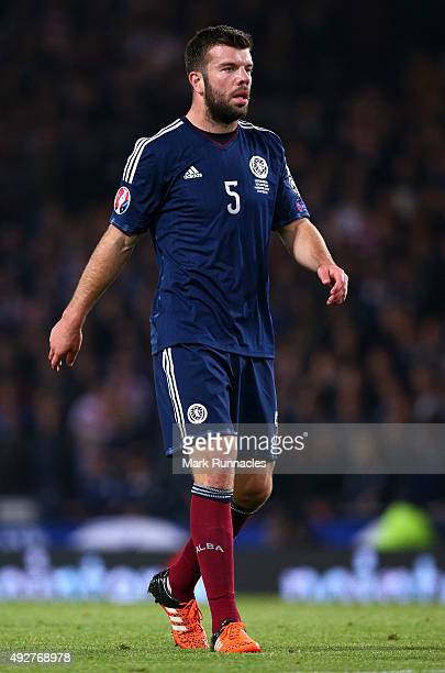 Grant Hanley of Scotland in action during the EURO 2016 Qualifier between Scotland and Poland at Hamden Park on October 8 2015 in Glasgow Scotland