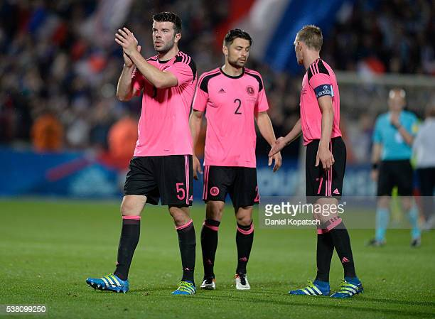 Grant Hanley of Scotland reacts after the International Friendly between France and Scotland on June 4 2016 in Metz France