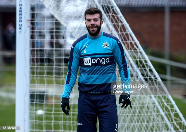 Grant Hanley smiles during the Newcastle United Training Session at The Newcastle United Training Centre on February 10 2017 in Newcastle upon Tyne...