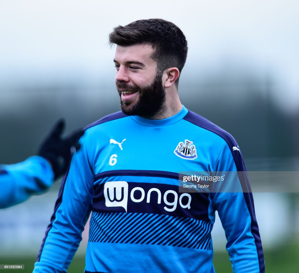 Grant Hanley smiles during the Newcastle United Training Session at The Newcastle United Training Centre on March 10, 2017 in Newcastle upon Tyne, England.