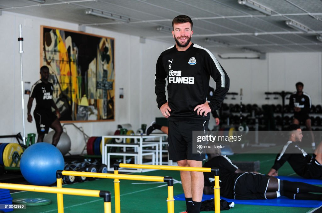 Grant Hanley smiles in the gym during the Newcastle United Training session at Carton House on July 17, 2017, in Maynooth, Ireland.
