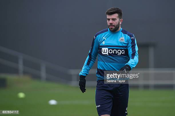 Grant Hanley walks outside during the Newcastle United Training Session at The Newcastle United Training Centre on January 27 2017 in Newcastle upon...