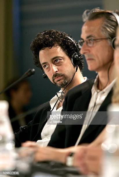 Grant Heslov and David Strathairn during 2005 Venice Film Festival 'Good Night and Good Luck' Press Conference at Casino Palace in Venice Lido Italy