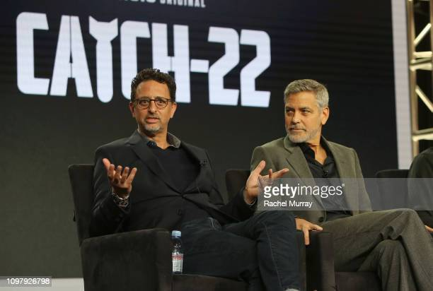 Grant Heslov and George Clooney of 'Catch 22' speak onstage during the Hulu Panel during the Winter TCA 2019 on February 11 2019 in Pasadena...