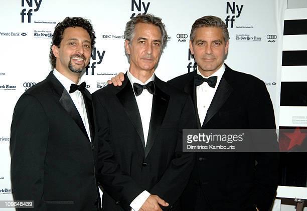 Grant Heslov coscreenwriter David Strathairn and George Clooney writerdirector
