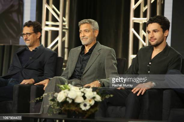 Grant Heslov George Clooney and Christopher Abbott of 'Catch 22' speak onstage during the Hulu Panel during the Winter TCA 2019 on February 11 2019...