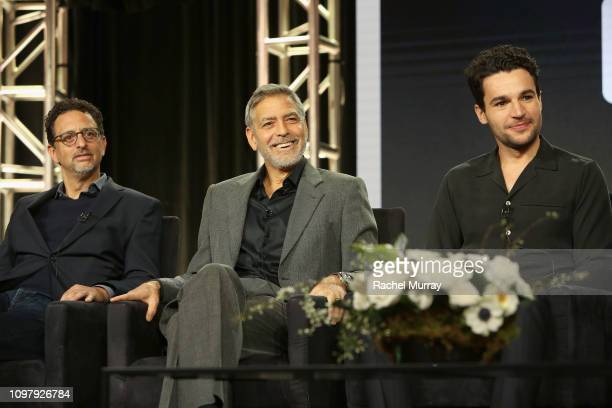 Grant Heslov George Clooney and Christopher Abbott speak onstage during the Hulu Panel during the Winter TCA 2019 on February 11 2019 in Pasadena...