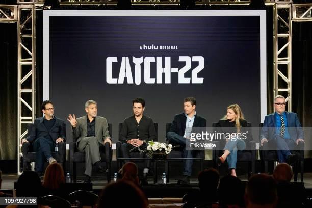 Grant Heslov George Clooney Christopher Abbott Kyle Chandler Ellen Kuras and Luke Davies of 'Catch 22' speak onstage during the Hulu Panel during the...